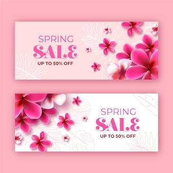 Banner de ventas de flores de primavera monocromo floreciente
