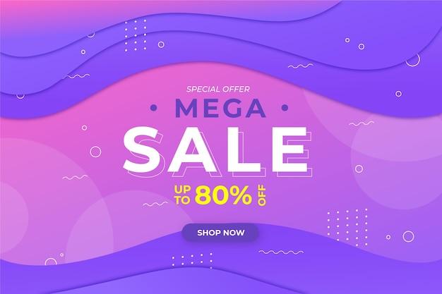Banner de ventas geométrico degradado
