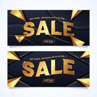 Banner de ventas con letras doradas
