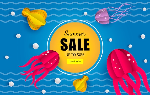 Banner de ventas navales de verano.