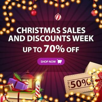 Banner de ventas navideñas y semana de descuentos, hasta 70% de descuento, descuento cuadrado morado con regalos y decoración navideña