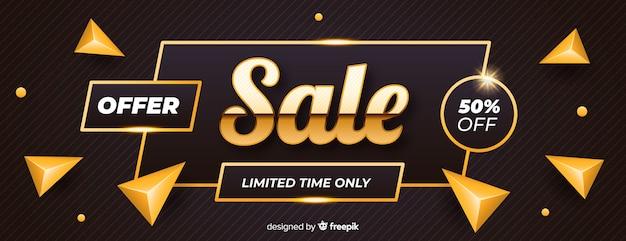 Banner de ventas negro con detalles dorados