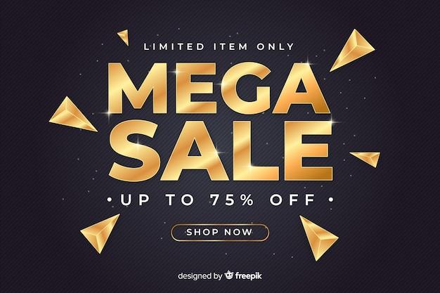 Banner de ventas negro con letras doradas