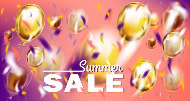Banner de ventas y ofertas de temporada con globos metálicos sobre fondo violeta y rosa