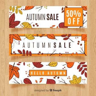 Banner de ventas otoño dibujado a mano