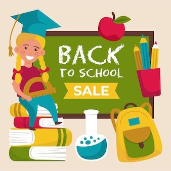 Banner de ventas de regreso a la escuela dibujado a mano
