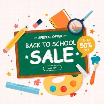 Banner de ventas de regreso a la escuela de diseño plano