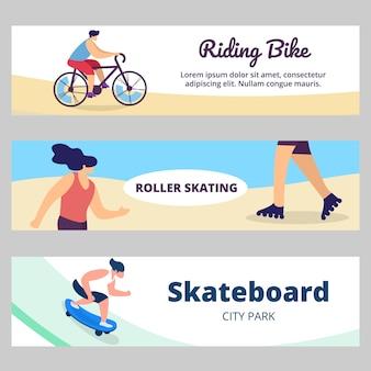 Banner de verano con actividad deportiva. jóvenes, adolescentes montando bicicleta, skateboard, roller