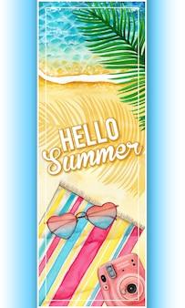 Banner de verano acuarela