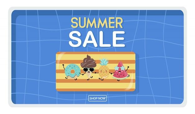 Banner de verano amarillo azul con helado