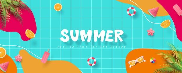 Banner de verano colorido con fiesta en la piscina