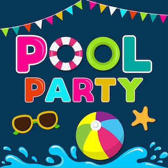 Banner de verano divertido. fiesta de piscina