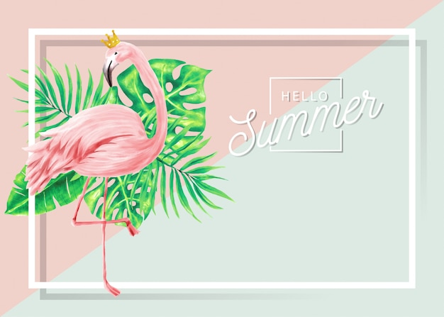 Banner de verano de flamencos y hojas tropicales.