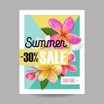 Banner de verano con flores tropicales.