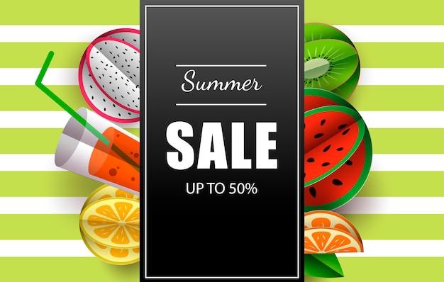 Banner de verano con frutas tropicales.