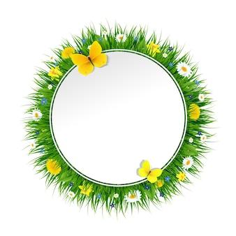 Banner de verano con hierba y flores con ilustración de malla de degradado