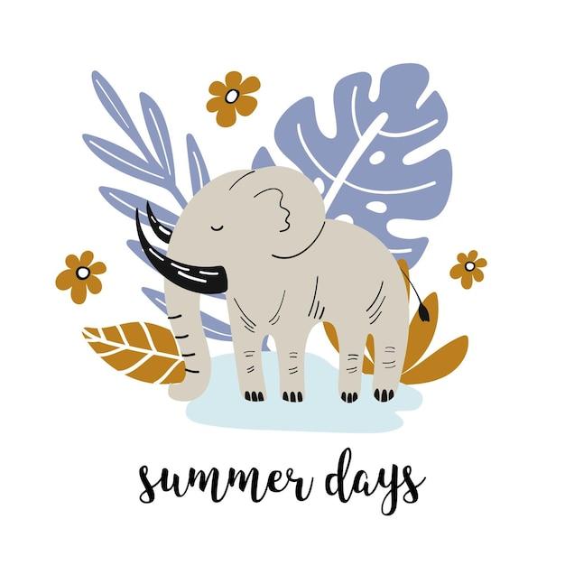 Banner de verano con lindo elefante y elementos dibujados a mano