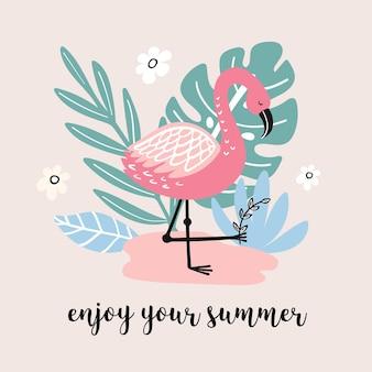 Banner de verano con lindo flamenco y elementos dibujados a mano