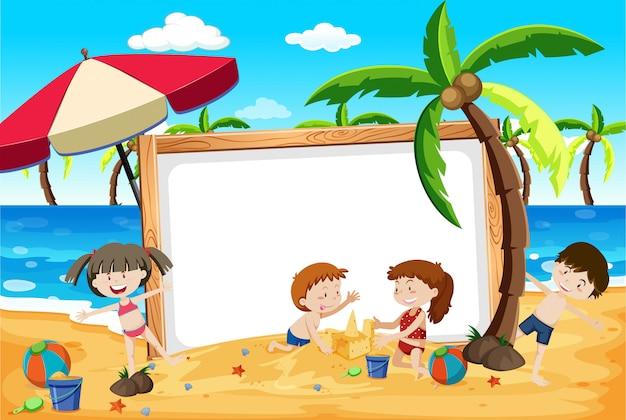 Banner de verano playa niños