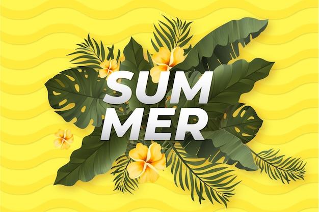 Banner de verano realista con fondo de hojas tropicales