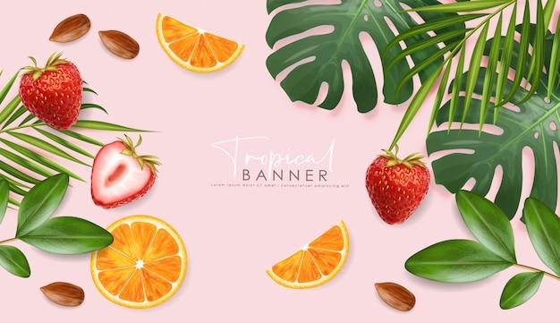 Banner de verano realista con frutas frescas y hojas tropicales