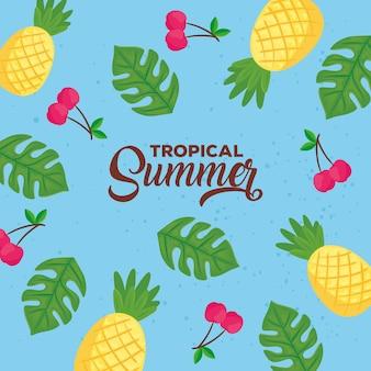 Banner de verano tropical con fondo de hojas y frutos
