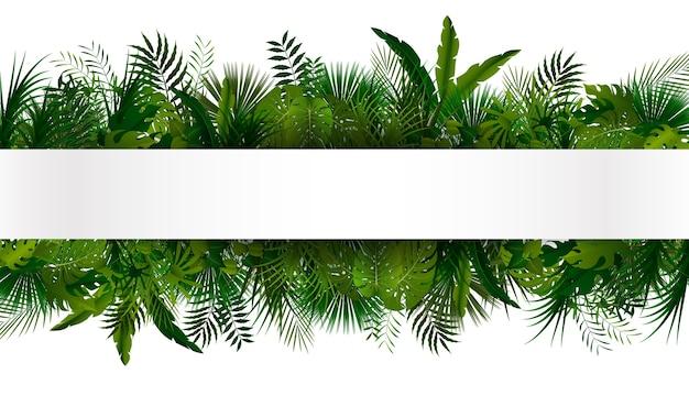 Banner verde follaje tropical