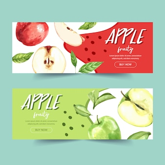 Banner con verde y varios tipos de concepto de manzana, plantilla de ilustración temática colorida.