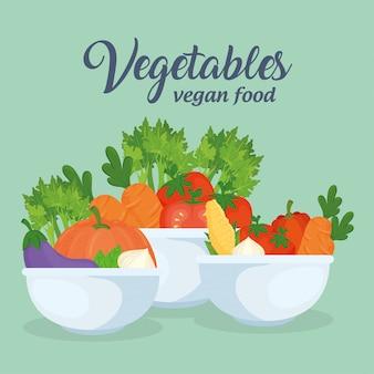 Banner con verduras en cuencos, concepto de comida sana