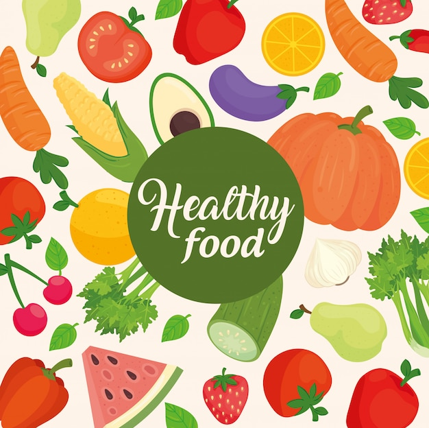 Banner con verduras y frutas, concepto de comida sana