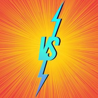 Banner versus con signo vs sobre fondo brillante para el anuncio de dos combatientes