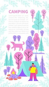 Banner vertical de campamento con composición de imágenes planas, paisajes forestales, personas con fogata