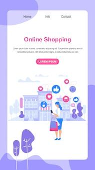 Banner vertical con copia espacio. las compras en línea.