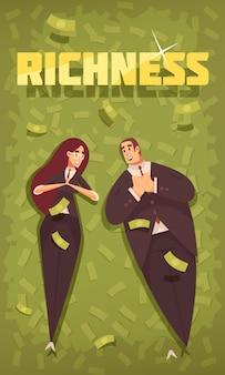 Banner vertical de dibujos animados plano de gente rica con pareja vestida elegante y elegante en fondo de dólares voladores