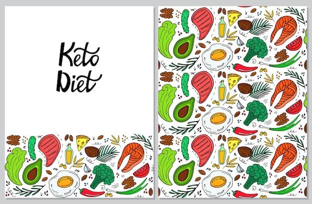 Banner vertical de dieta cetogénica en estilo doodle dibujado a mano. dieta baja en carbohidratos. patrón sin costuras ceto.