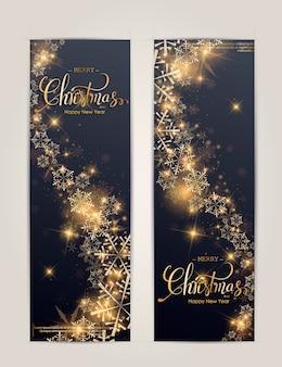 Banner vertical de feliz año nuevo y feliz navidad con estrellas doradas