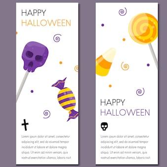 Banner vertical de halloween de dibujos animados