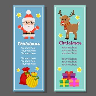 Banner vertical navideño con sacos de regalo santa claus.