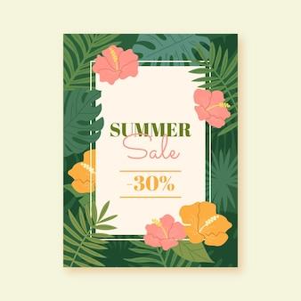 Banner vertical de rebajas de verano dibujado a mano