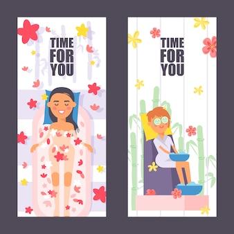 Banner vertical de salón de spa, procedimientos de belleza para mujeres