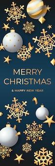 Banner vertical de vacaciones con adornos navideños