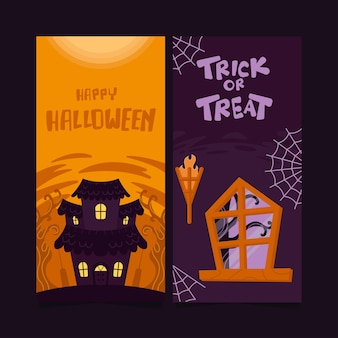 Banner vertical de venta de halloween plano dibujado a mano