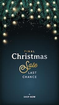 Banner vertical de venta de navidad.