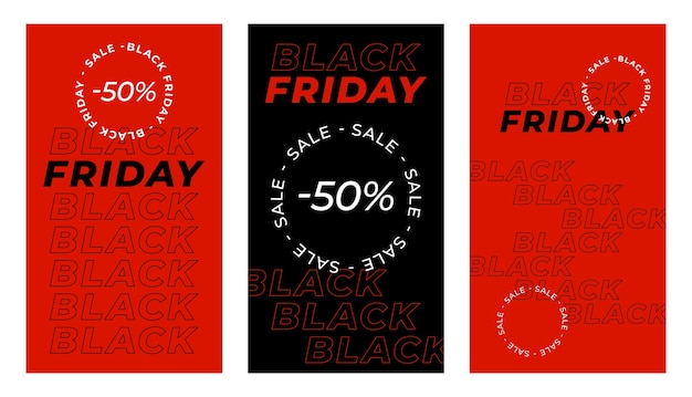 Banner vertical de viernes negro para historias. conjunto de banner de publicación de historias de redes sociales de tema de viernes negro.