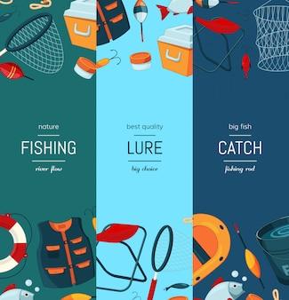 Banner vertical web con equipo de pesca de dibujos animados