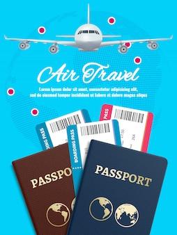 Banner de viaje aéreo con pasaporte y boletos de avión terrestre