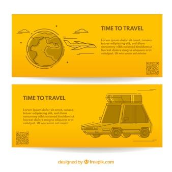 Banner de viaje amarillo