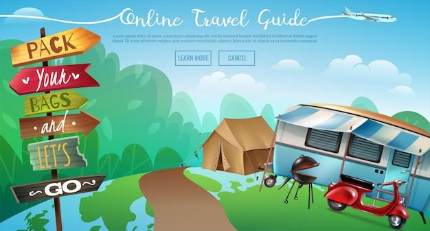 Banner de viaje de camping al aire libre
