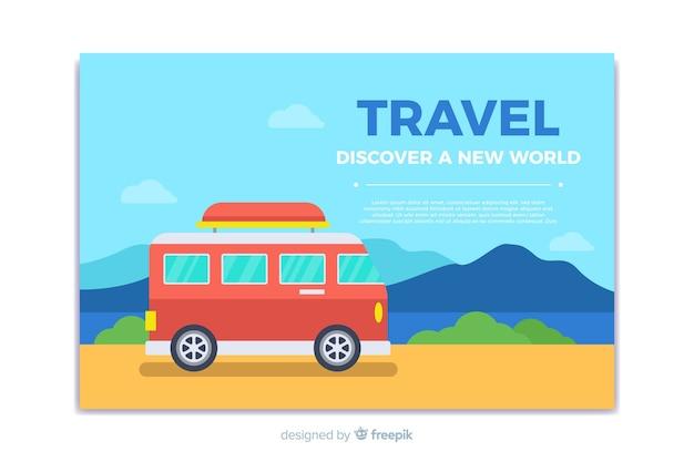 Banner de viaje en diseño plano