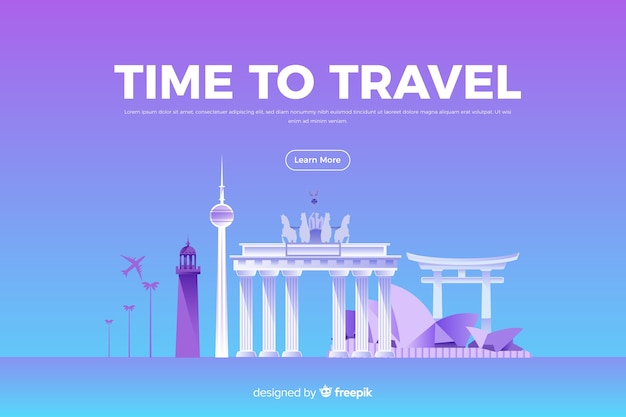 Banner de viaje con monumentos